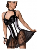 silver sleek corset with lace skirt M1681