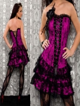 purple satin embroidred lace corset with skirtM1605B