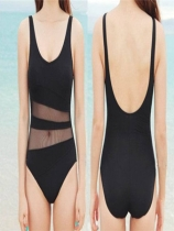 Black one piece triangle bikini M5357