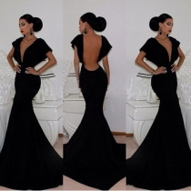 Fashionshow Black Maxi Long Dress M3976