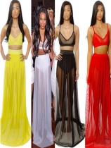 Four Colors Two Piece Bra Design Sleeveless Long Round Dress M3846