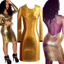 Sexy Gold Hollow Out Bodycon Dress M3900