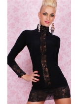 wrap hip black long sleeve turtleneck with lace charming babydoll m3469a