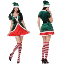Lovely Green Plus Size Xmas Santa Claus Elf Helpers Costume M21947