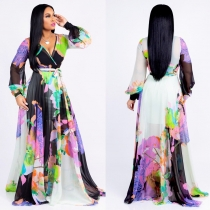 Summer Women Floral Print Casual Chiffon Maxi Dress M8266