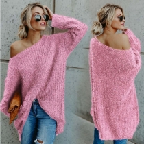 Women Sexy Off Shoulder Long Sleeves Plush Sweaters M30414