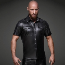 Sexy Mens Soft Faux Leather Shirt Tops Costume M40653