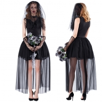 Black Lace Corpse Ghost Bride Fancy Outfit m40686