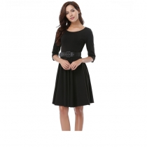 Pretty Fashion Office Lady Summer Casual Woman Dress With Belt
