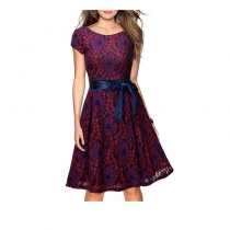 Summer Retro Design Rond Neck Lace Ladies Dress with Satin Belt M17874