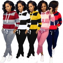 Autumn Winter Thick and fluffy Hoodied Women's set Tracksuit m6005