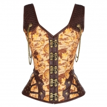 Yellow and Black Map printed Fancy Corset women gothic corset garments