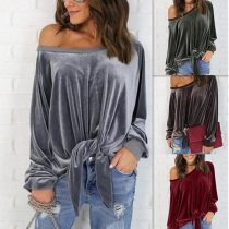 Long Sleeve Sexy Off Shoulder Velvet Shirt Top M30407