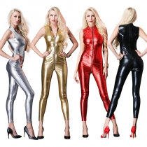 Women Sexy Sleeveless Open Crotch Faux Leather Latex Jumpsuit M7318