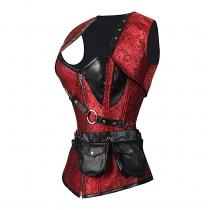 3 color in stock Gothic Flower printed Deluxe corset 5pc set including Shawl, waist hanging bag, waist strap. T pants