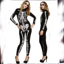 Skull print Halloween costume jumpsuit style halloween party clothes