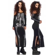 Slip up Skeleton zoobie halloween party costume long dress