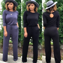 Women fashion soild color long sleeve loose causal jumpsuit m8303