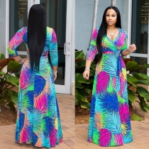 Summer Sexy V Neck Green Palm Leaf Print Holiday Maxi Dress m8408