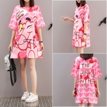 Women Summer Cartoon Print T-Shirts Dress M8341