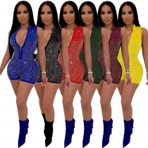 Women's Sleeveless Shinying Bodycon Sexy Jumpsuit Short m8357