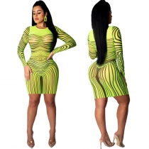 Long Sleeve Striped Mesh Sexy Bodycon Dresses M8366