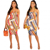 Sexy Off Shoulder Geometric Print Bodycon Dress m8367