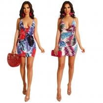 Sexy Backless Leaves Printing Mini Dress M8370