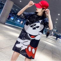 Cartoon Design Mickey Mouse Women T shirt Dress M8371
