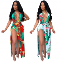 Sexy deep v neck backless summer print beach maxi dress M8395