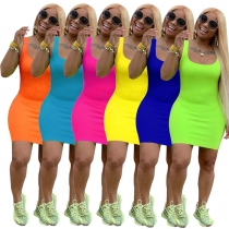 Summer Basic Vest Short Bodycon Dress m8399