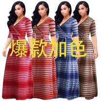 Summer Stripe Printed Swing Maxi Dress Plus Size M8433
