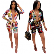 Sexy Casual 2 Two Piece Set Printing Coat + Hot Pants m8426