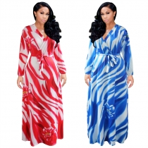 Big Size Summer Long Maxi Dress Print Beach Dress M8428