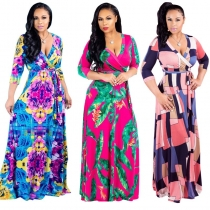 Plus Size Sexy Casual Robe Boho Party Club Long Maxi Dress Print Dress m8435