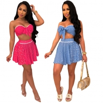 Off Shoulder Bowknot Crop Top And Skirts Two Piece Set m8431