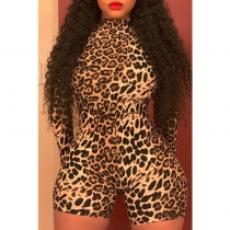 Sexy Long Sleeves Turtleneck Leopard Fitness Biker Playsuits M9125