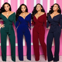 Womens Solid Sexy Deep V Neck Full Sleeve Jumpsuits Belt M9202