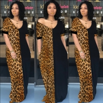 Lady Summer Loose Casual Leopard Pockets Dress M9200