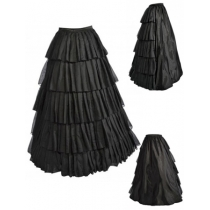 Vintage Black Satin Multi-layer Ruffles Floor-length Petticoat S028