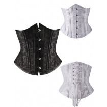 Black Jacquard Underbust Corset with 24 Steel Bones M1324