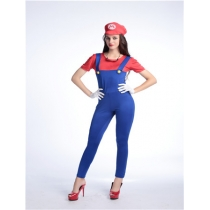 Funy Cosplay Costume Super Mario Luigi Brothers Plumber Fancy Dress Up Party Costume M40256