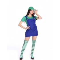 Mario Dress Cosplay Costume for adult with hat and stockings M40258