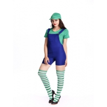 Super mario Bib short  costume for summer party fanny Mario jumpsuits with hat M40257