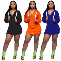Long sleeve zipper sweater hooded dress M8477