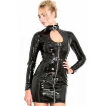 Instyle Sexy Woman Open Leather Tight Dress M7276