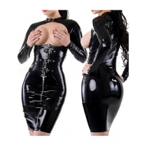 Sexy Black Women Leather Dress Lingerie M7106