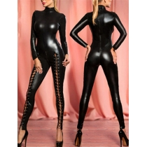 Sexy Lace-up Catwoman Leather Dance Jumpsuit