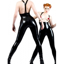 Hot Suspenders Black PVC Leather Jumpsuit M7118