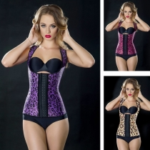 Charming women purple leopard latex corsets steel bone corsets M1307B